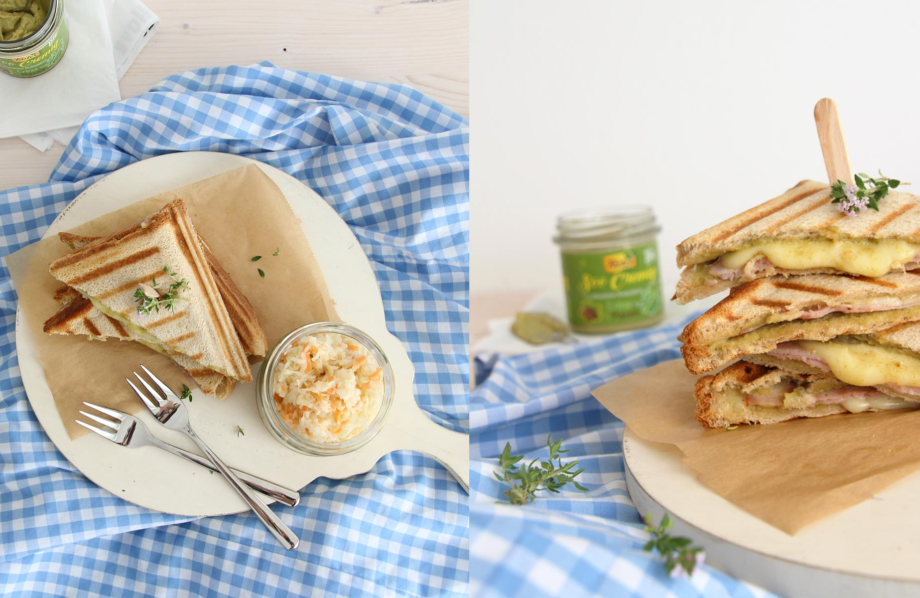 Puten-Käsesandwich mit Erbsen-Masala und selbstgemachtem Coleslaw