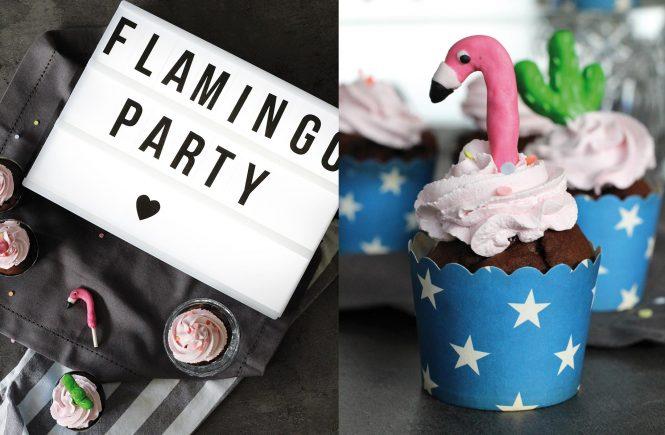Schoko-Himbeercupcakes mit Flamingo-Toppern