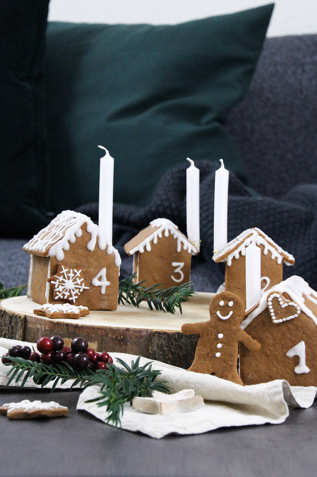 Adventskranz aus Lebkuchen