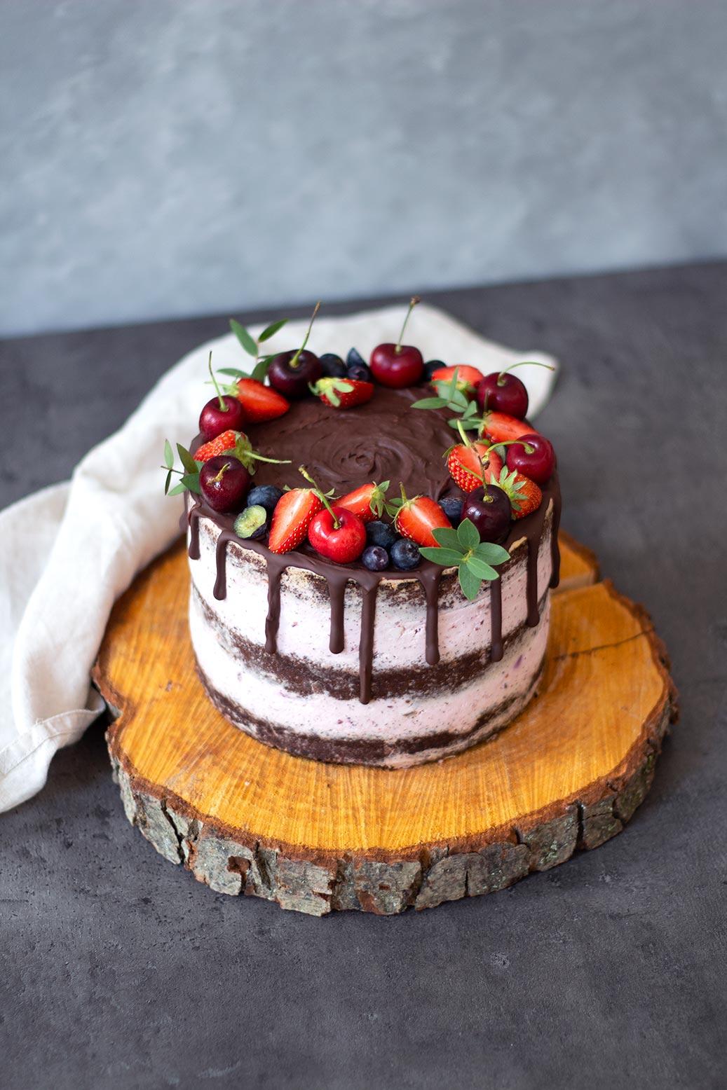Thermomix Naked Cake Schoko Biskuit Creme Tortenaufleger